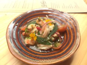 A fresh ceviche during our gastronomical experience in San Jose