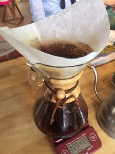 One of the famous methods to prepare coffee at the coffee tasting gastronomical experience